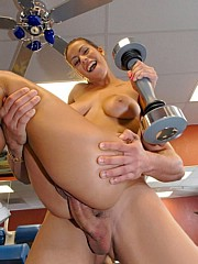 Big tits babe Jasmine Bash jerks a cock in a  gym then gets nailed on the bench