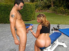 Stacked hot as shit fucking bikini Kitana gets drilled hard by poolside